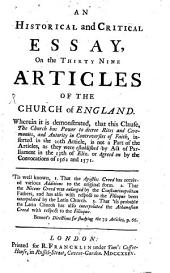 An historical and critical, essay on the Thirty nine articles of the Church of England [by A. Collins.].