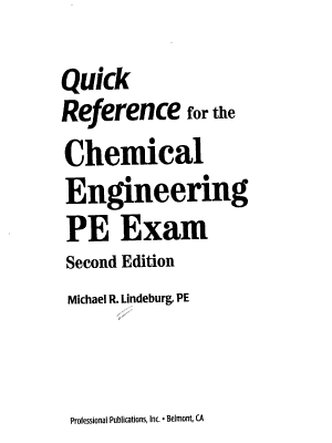 Quick Reference for the Chemical Engineering PE Exam PDF