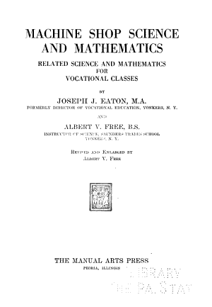 Machine Shop Science and Mathematics PDF