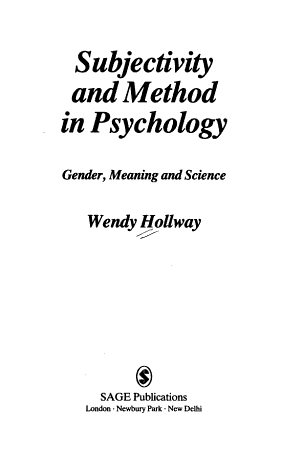 Subjectivity and Method in Psychology PDF