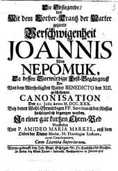 Die Obsiegende, und mit dem Lorber-Krantz der Marter gezierte Verschwiegenheit Joannis von Nepomuk
