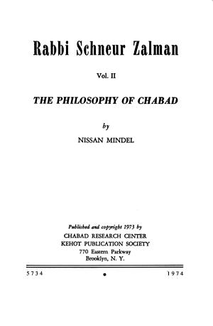 Rabbi Schneur Zalman  The philosophy of Chabad