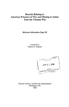 Records Relating to American Prisoners of War and Missing in Action from the Vietnam War PDF