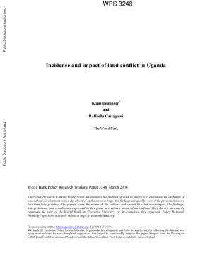 Incidence and Impact of Land Conflict in Uganda PDF