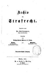 Archiv für preußisches Strafrecht: Band 39