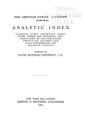 The American Nation: Analytic index, comp. by D. M. Matteson