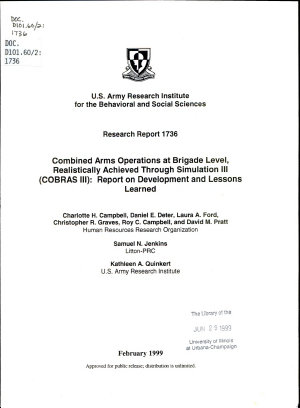 Combined Arms Operations at Brigade Level  Realistically Achieved Through Simulation III  COBRAS III  PDF