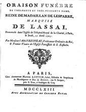 Oraison funèbre ... de marquise de Lassai ... 1763