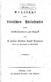 Neue Beyträge zur kritischen Philosophie und insbesondere zur Logik