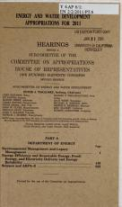 Energy and Water Development Appropriations for 2011  Dept  of Energy  Environmental management and legacy management  energy efficiency and renewable energy     science and ARPA E PDF