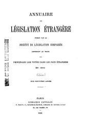 Annuaire de législation française et étrangére