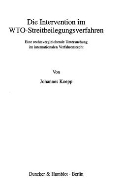 Die Intervention im WTO Streitbeilegungsverfahren PDF