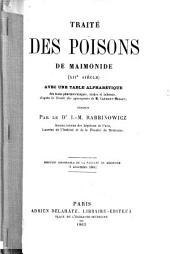 Traité des poisons de Maimonide (XIIe siècle) avec une table alphabétique des noms pharmaceutiques, arabes et hébreux, d'après le Traité des synonymes de M. Clément-Mullet