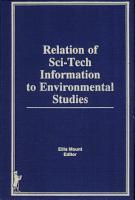 Relation of Sci tech Information to Environmental Studies PDF