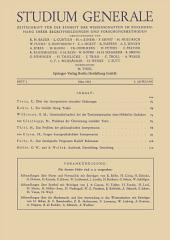 Studium Generale: Zeitschrift für die Einheit der Wissenchaften im Zusammenhang Ihrer Begriffsbildungen und Forschungmethoden