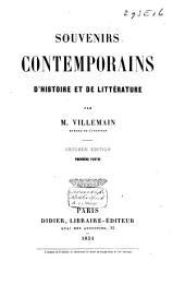 Souvenirs contemporains d'histoire et de littérature: Volume1