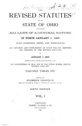 The Revised Statutes of the State of Ohio: Volume 1