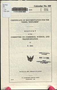 Certificate of Documentation for the Vessel  Explorer