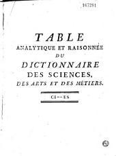 Table Analytique et Raisonnée des Matieres contenues dans les XXXIX volumes in-quarto du Dictionnaire des Sciences, des Arts et des Métiers