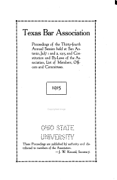 Proceedings of the ... Annual Sessions of the Texas Bar Association: Volume 34