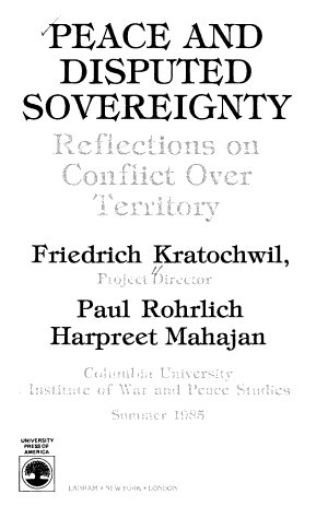 Peace and Disputed Sovereignty PDF