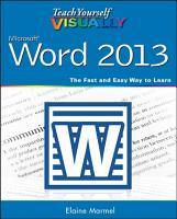 Teach Yourself VISUALLY Word 2013 PDF
