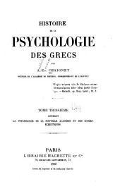 Histoire de la psychologie des Grecs: La psychologie de la nouvelle Académie et des écoles éclectiques