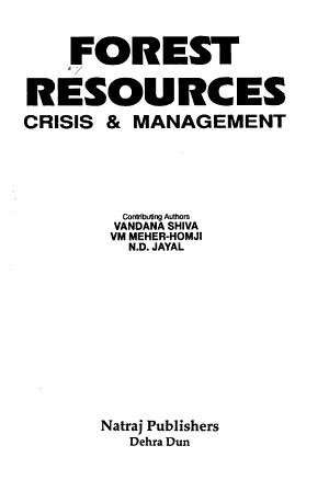 Forest Resources  Crisis   Management PDF