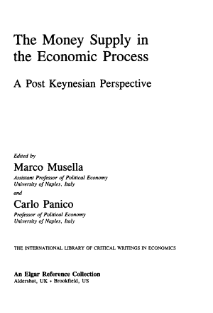 The Money Supply in the Economic Process PDF