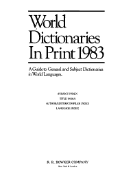 World Dictionaries In Print 1983 Book PDF