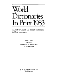 World Dictionaries in Print 1983 PDF