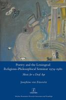 Poetry and the Leningrad Religious Philosophical Seminar 1974 1980 PDF