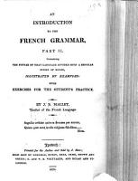 An Introduction to the French Grammar  etc PDF