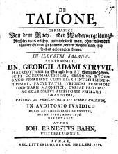 De talione, von dem Rach- oder Wiedervergeltungsrechte, disputatio