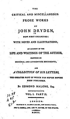 The Critical and Miscellaneous Prose Works of John Dryden  Now First Collected     PDF
