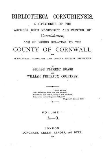 Bibliotheca Cornubiensis PDF