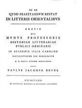 De eo quod praestandum restat in litteris orientalibus
