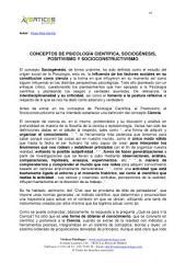 CONCEPTOS DE PSICOLOGÍA CIENTÍFICA, SOCIOGÉNESIS, POSITIVISMO Y SOCIOCONSTRUCTIVISMO