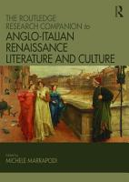 The Routledge Research Companion to Anglo Italian Renaissance Literature and Culture PDF