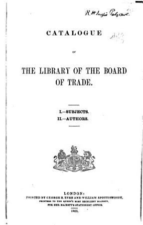Catalogue of the Library of the Board of Trade PDF