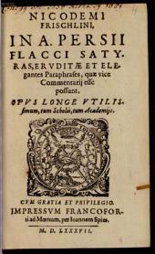 In Satyras Nic. Frischlini Commentarii