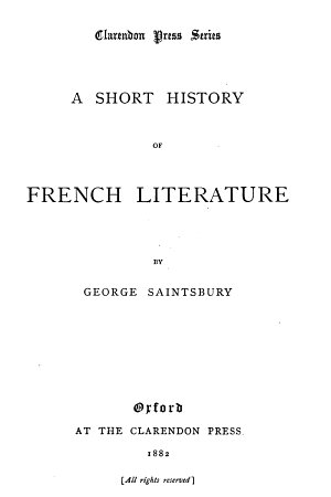 A Short History of French Literature PDF