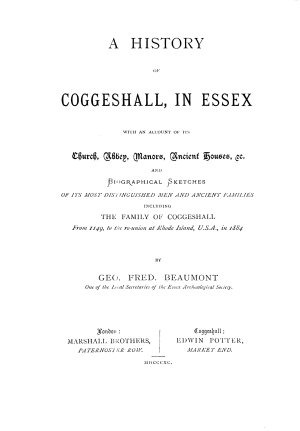 A History of Coggeshall  in Essex
