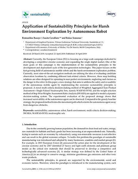 Application of Sustainability Principles for Harsh Environment Exploration by Autonomous Robot