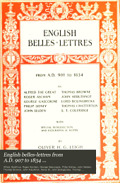 English Belles-lettres: From A. D. 901 to 1834