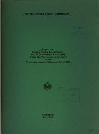 Report on Escape clause Investigation No  66 PDF