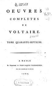 Oeuvres completes de Voltaire. Tome quarante-septieme [Melanges litteraires]