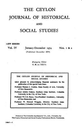 Ceylon Journal of Historical and Social Studies PDF