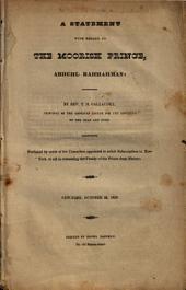 A Statement with Regard to the Moorish Prince, Abduhl Rahhahman