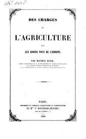 Des charges de l'agriculture dans les divers pays de l'Europe